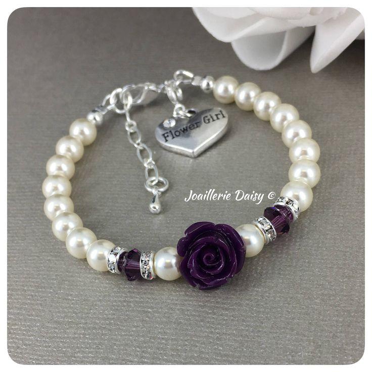 Flower Girl Gift Flower Girl Bracelet Swarovski Purple Bracelet Flower Jewelry Gift for Flower Girl Purple Wedding Gift Idea Plum Jewelry by dcjoaillerie on Etsy https://www.etsy.com/ca/listing/572032164/flower-girl-gift-flower-girl-bracelet