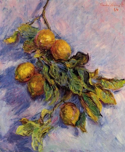 """Branch of Lemons"" by Claude Monet, Completion Date: 1884 ・ Style: Impressionism ・ Genre: stillーlife"