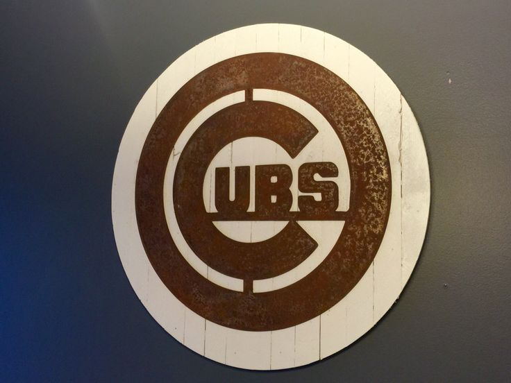 Rustic Patina Steel and Reclaimed Wood Chicago Cubs Wall Art by ReclaimedYankee on Etsy https://www.etsy.com/listing/468534519/rustic-patina-steel-and-reclaimed-wood