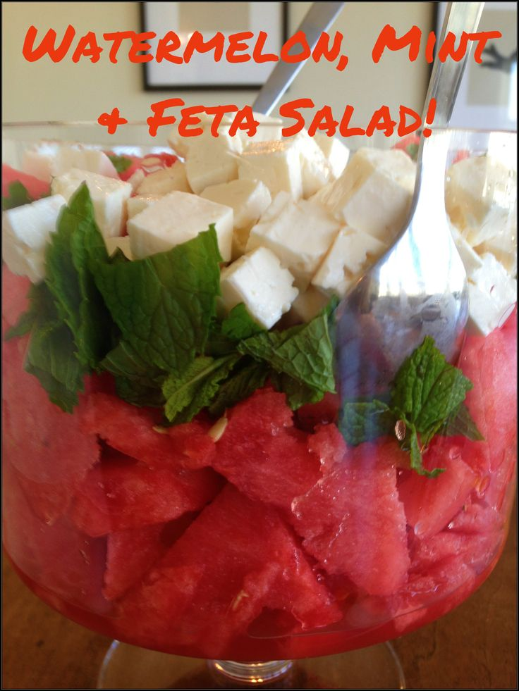 Watermelon, Feta and MintSalad! Great for a summer potluck, baby shower or wedding shower. Or for breakfast!