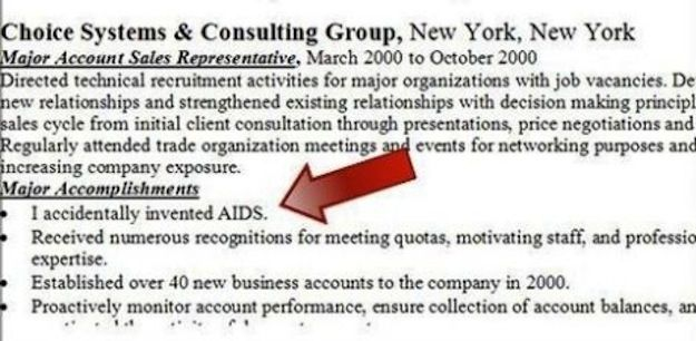 This resume from the person who accidentally created AIDS Super - best resumes ever