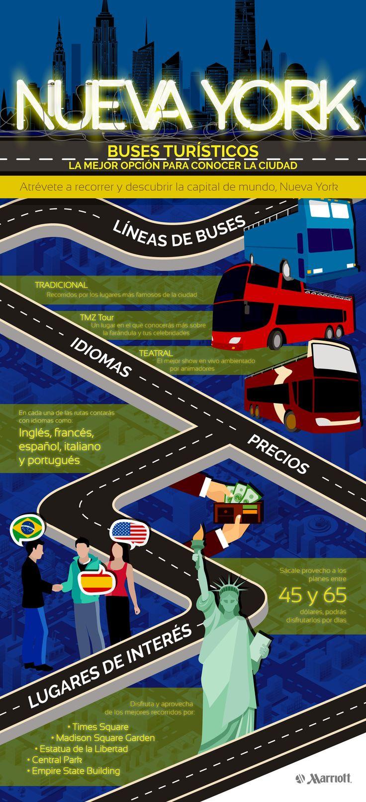 Una de las mejores formas de conocer en poco tiempo la mayor cantidad de sitios de interés en New York, es por medio de los buses turísticos. #NY #NewYork #NuevaYork #TuristBus #Bus #Travel #Vacation #Tips #Marriott #ThingsToDoIn #Turist #HotelesMarriott #Infographic #Infografía