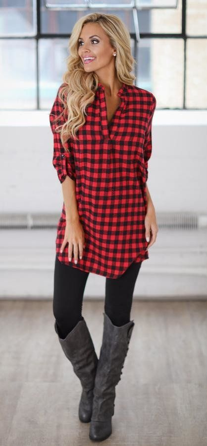 3b5cfea3147e3  fall  outfits red and black checkered long sleeve top