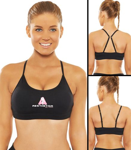 Premium Sports Bra - Black - Dual Strap - Removable Pads designed to give the perfect shape - Ultimate in performance & Comfort Strong, Sexy yet Fashionable Gym wear!