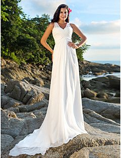 Lanting+Bride®+A-line+Petite+/+Plus+Sizes+Wedding+Dress+-+Chic+&+Modern+Open+Back+Court+Train+V-neck+Chiffon+withSequin+/+Beading+/+–+USD+$+139.99
