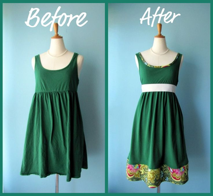 Before and After ReFashioned Dress  Add mid panel for modification