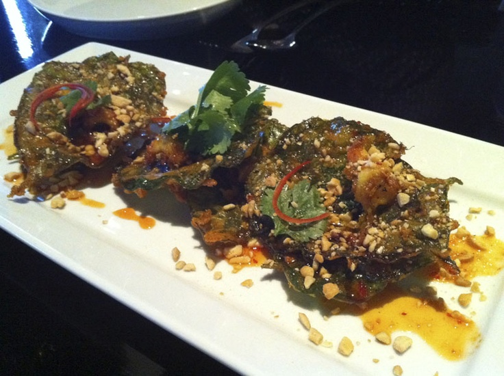 Bour Tod (Phuket style fritter of green school prawns on crispy betel leaf with chilli sauce, crushed cashew nut and coriander) from Spice I Am, Darlinghurst, Sydney, Australia