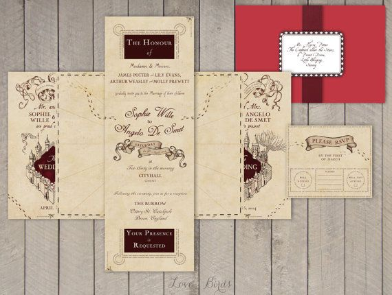 Wedding invitation Set Harry Potter Marauder's Map by SophiesLoveBirds on Etsy #Wedding #HarryPotter