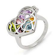 Interlocking Hearts Birthstone Silver Locket Ring