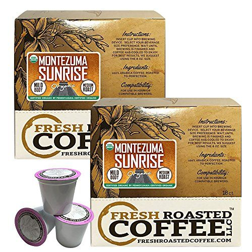Montezuma Sunrise Organic Single-Serve Cups, 36 ct. of Single Serve Capsules  for Keurig K-Cup Brewers, Fresh Roasted Coffee LLC. * To view further for this article, visit the image link.
