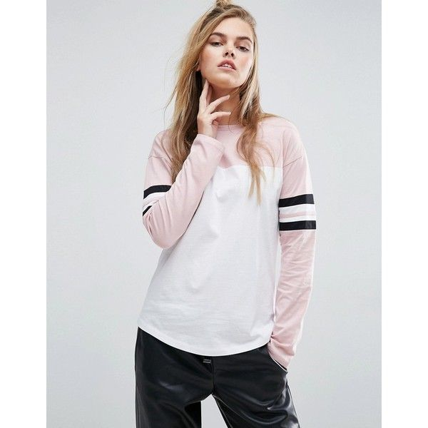 ASOS T-Shirt With Colour Block Panels And Stripe Sleeve (32 CAD) ❤ liked on Polyvore featuring tops, t-shirts, multi, crew neck t shirt, striped t shirt, striped sleeve t shirt, long sleeve crew neck t shirt and striped tee