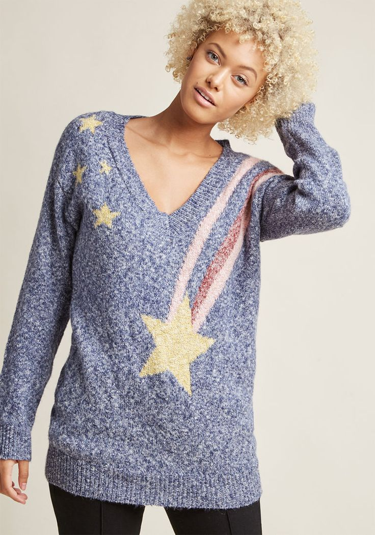 Oversized Sweater with Shooting Star Detail | $65 | ModCloth | Medium stars space comet meteor shower winter cozy print unique v neck blue