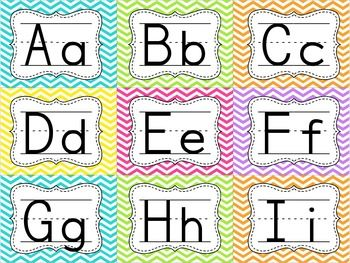 WORD WALL CARDS {CHEVRON BACKGROUND}