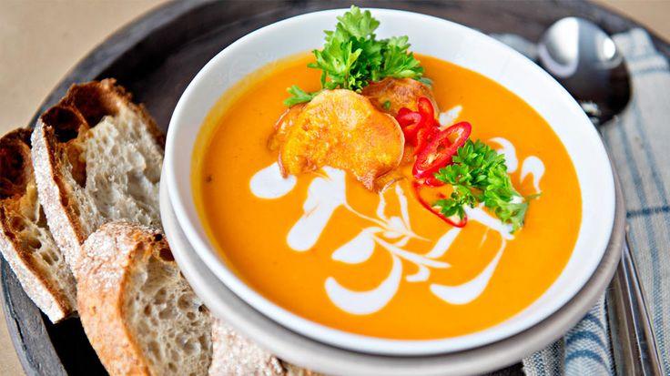 Søtpotetsuppe med rød karri og kokos - norwegian recipe for sweet potato soup with red curry paste and coconut milk