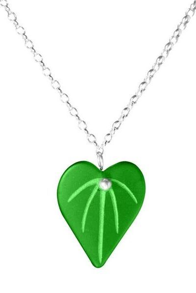 Kawakawa Pendant | Made from recycled glass by Stone Arrow Jewellery. Perfect for Valentine's Day.