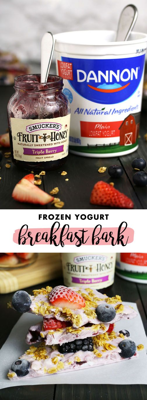 When it comes to busy mornings, there's nothing like a make-ahead treat to do the trick. Check out this recipe for Triple Berry Granola Frozen Yogurt Breakfast Bark to inspire your next quick and easy dish your family is sure to love. Grab Dannon plain yogurt, Smucker's Triple Berry Fruit and Honey Spread, granola, blueberries, blackberries, and strawberries from Kroger to get started.