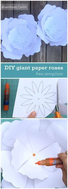 DIY giant paper roses with free petal template. Make these for your wedding to use as a photo booth backdrop, altar decor, or reception decor. Imagine your flower girl carrying a single enormous bloom down the aisle. Too cute. They are easy to make and super economical. Make in any color under the sun. From Download & Print.