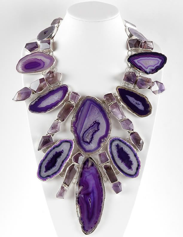 Necklace | Charles Albert.  Sterling silver and Grape Agate.  www.charlesalbert...