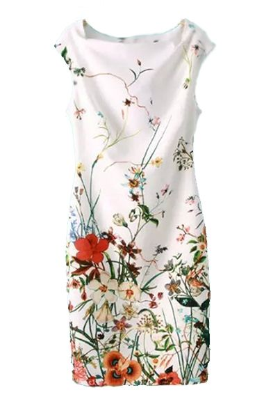 Summer Vintage Sleeveless Floral Bodycon Dress