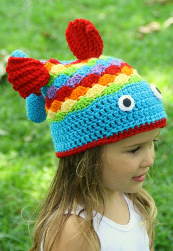 Crochet Fish Hat For Boy Or Girl Rainbow , Sizes, 6-12M -6024