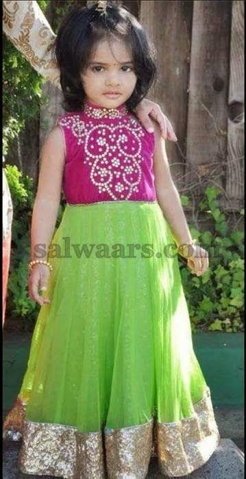 Green Net Long Frock - Indian Dresses