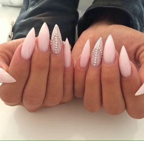 Pointed nails with diamond rhinestones on them nude pink prom