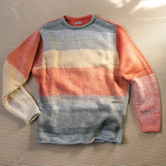 Designer Menswear Hipster Sweater for size S Mens (M Womans ) soft and cool, knit with cotton and a bit of kid mohair-Caviar