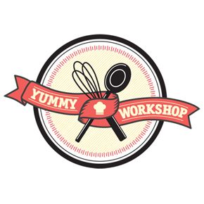 Logo design for Yummy Workshop food blog, part style inspiration for Cakes by Diane