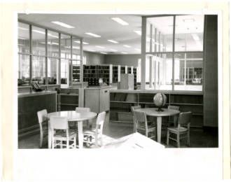 Caldwell County Public Library Interior With Childrenu0027s Tables, Stacks, And  Film Canisters, 1960