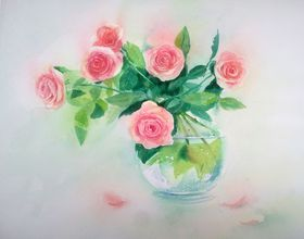Bouquet of pink roses in a glass vase - watercolor roses - floral - garden - flowers - flower by Olga Beliaeva Watercolours