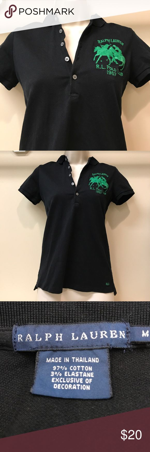 Ralph Lauren Polo golf shirt black w/ green logo Excellent used condition. Worn only once when I tried golf! Ralph Lauren Tops