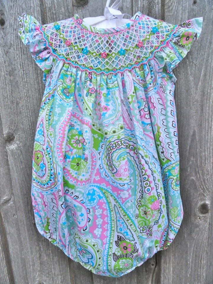 Spring Paisley Smocked Bubble from Smocked Auctions
