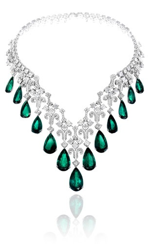Chopard Brilliant White Diamonds and 13 Pear Shape Emeralds Necklace