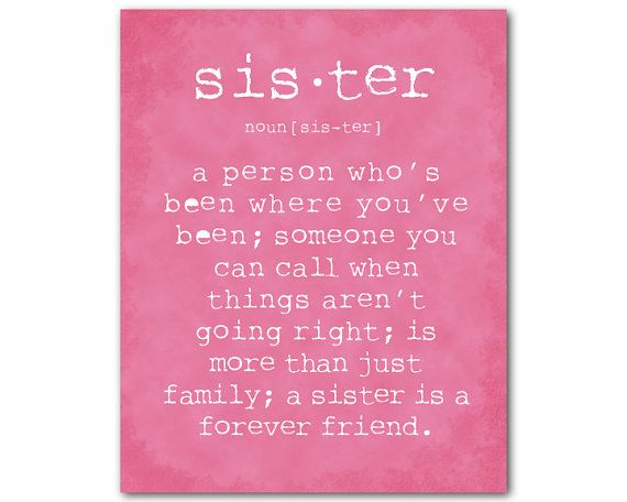 This typography print reads a person who's been where you've been; someone you can call when things aren't going right; is more than just family; a sister is a forever friend. Select from backgrounds shown or specify color to match your decor. Just state preference in note to seller at checkout. Prints available in 5 x 7, 8 x 10, 11 x 14, or 12 x 16. Your prints will be printed on Epson Ultra Premium Luster heavyweight paper using Epson UltraChrome Hi-Gloss 2 Pigment Ink that will last under…