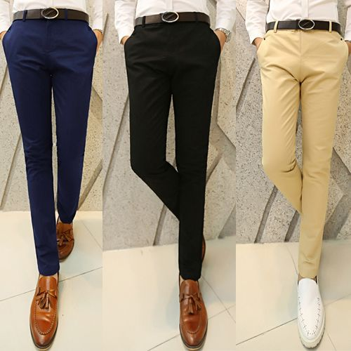 Новинка 2014, мужские весенние/летние/осенние зауженные повседневные прямые брюки, гладкие модные брюки фасона скинни