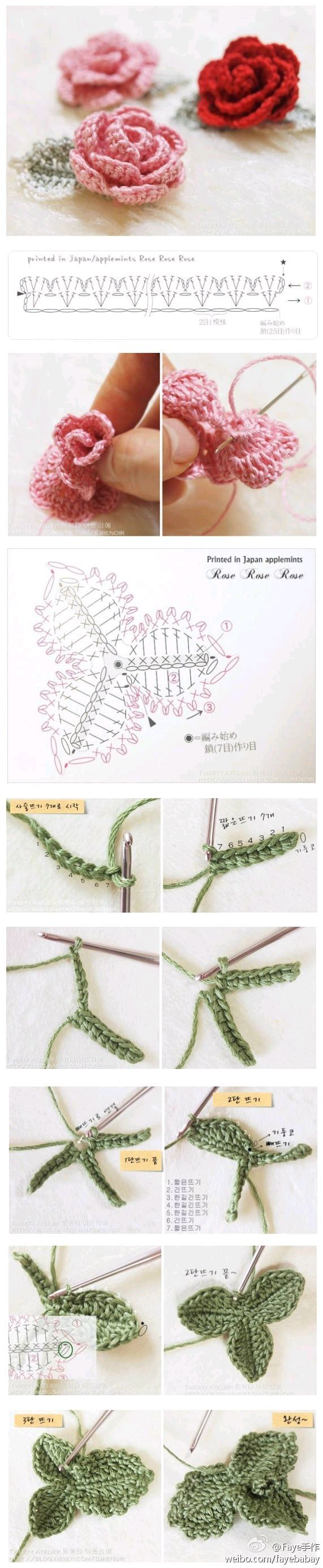 Crochet rose and leaf ♥LCF-MRS♥ with diagram and picture instructions.