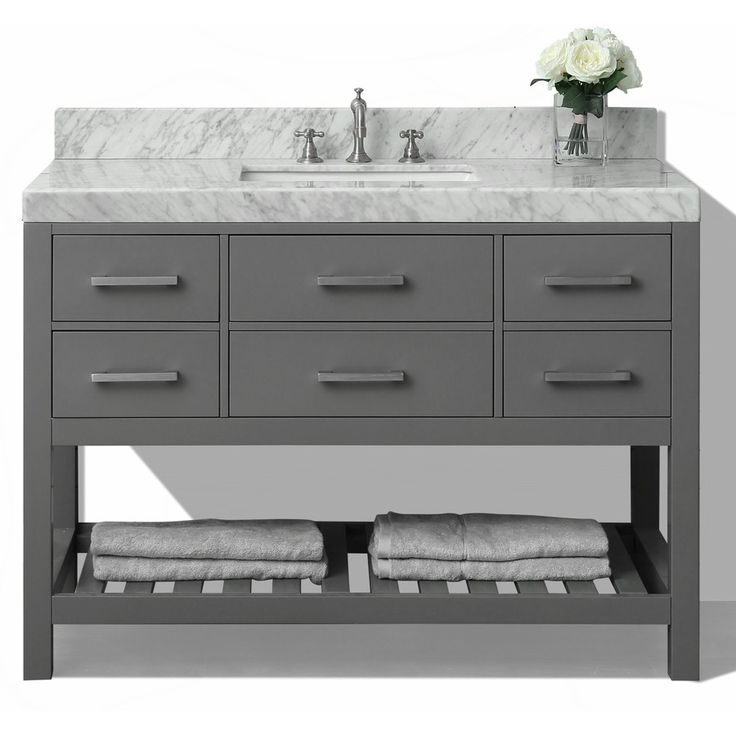 Ancerre Designs Elizabeth Sapphire Gray (Common: 48 In X 22 In) Undermount Single  Sink Birch Bathroom Vanity With Natura