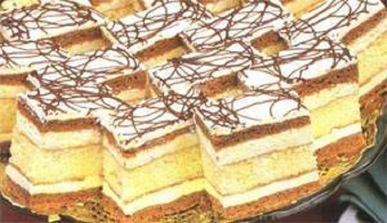 Hozzávalók Tészta: 25 dkg liszt, 5 dkg cukor, 5 dkg vaj, 1 kanál kakaópor, 1 szalalkáli. Tejjel összegyúrjuk és 2 lapot sütünk. Tészta2: 4 tojásból…