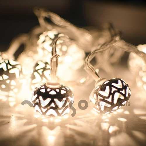Guirnalda Luces Led A Pilas Bolitas Marroquí Blancas Navidad - $ 249,99 en Mercado Libre
