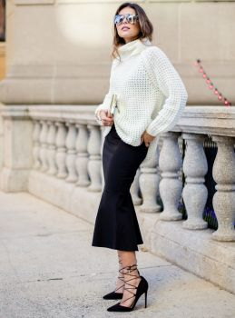 Pam Hetlinger + million bucks + creamy sweater + polished fit-and-flare skirt + killer lace-up stilettos.   Sweater and Skirt: Fashion Bunker, Shoes: ASOS, Sunglasses: Prada, Purse: Reiss