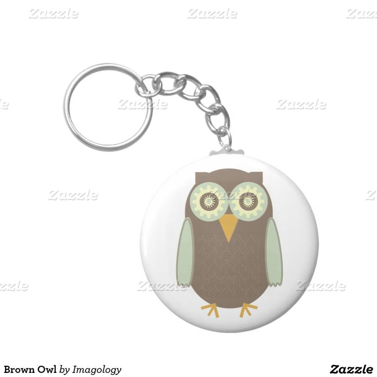 Brown Owl Basic Round Button Keychain