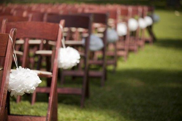 Pom Pom Wedding Chairs from rusticweddingchic.com