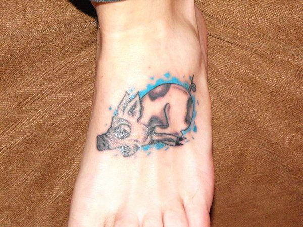 leg pig tattoo 25 Interesting Pig Tattoos