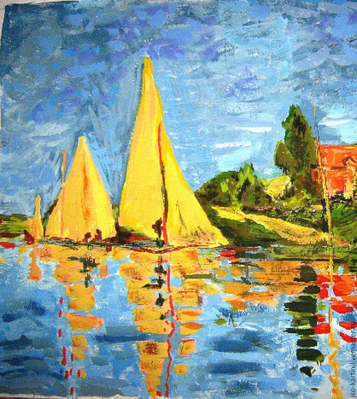 """Купить Авторская картина """"Желтые паруса"""" - синий, море, лодки, паруса, парусники, регата, импрессионизм"""