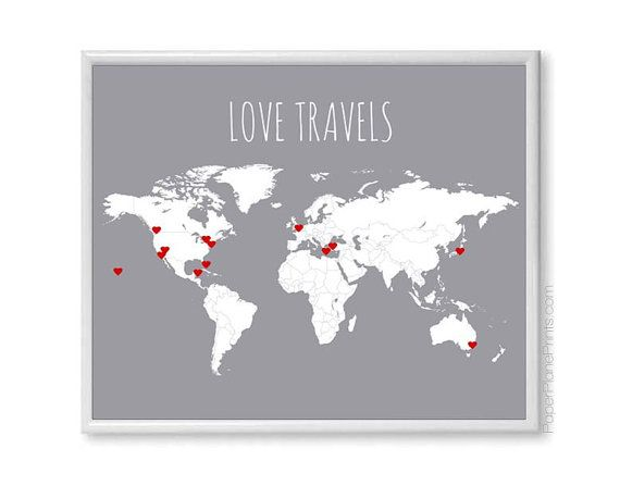 World Travel Map - DIY Kit Includes Red Heart Stickers, Traveler Gift Wall Map Poster, Grey 11x14 Print Blank World Map With Countries