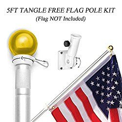 ANLEY [Best Tangle Free] Spinning Flag Pole Kit with Mounting Braceket, Rotating Rings and Hardwares – Weather Resistant Aluminum Matte Coating – 1 Inch Diameter and 5 Foot Long (Flag NOT Included)