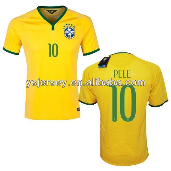 Grade Original 2014 Newest Brazil PELE 10 Soccer Jersey , Thai Quality 2014  New Brazil Soccer Jersey