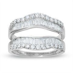 1 CT. T.W. Baguette Diamond Solitaire Enhancer in 14K White Gold - Jewelry Rings - Gordon's Jewelers