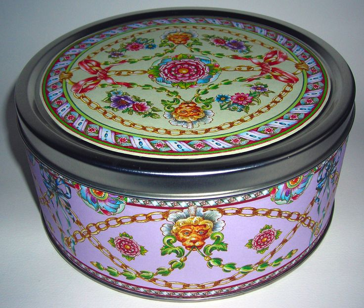 TIN BOX DECORATED BY CALAMBOUR WITH  PAPER FOR PRINT ROOM PR 27 CALAMBOUR COLLECTION