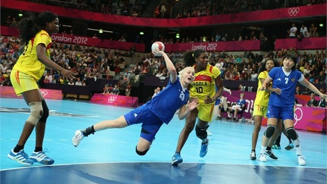 Tatiana Khmyrova of Russia scores a goal in the women's Handball preliminaries Group A - Match 1 between Russia and Angola on Day 1 of the London 2012 Olympic Games at the Copper Box on 28 July.